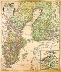 Ruotsi (Sveanmaa, Götanmaa, Norlanti ja Suomi) Turun rauhan jälkeen, kartta vuodelta 1747